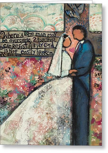Ecclesiastes 4 12 Wedding Art Greeting Card by Jen Norton