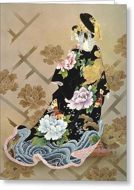 Gold Dress Greeting Cards - Echigo Dojouji Greeting Card by Haruyo Morita