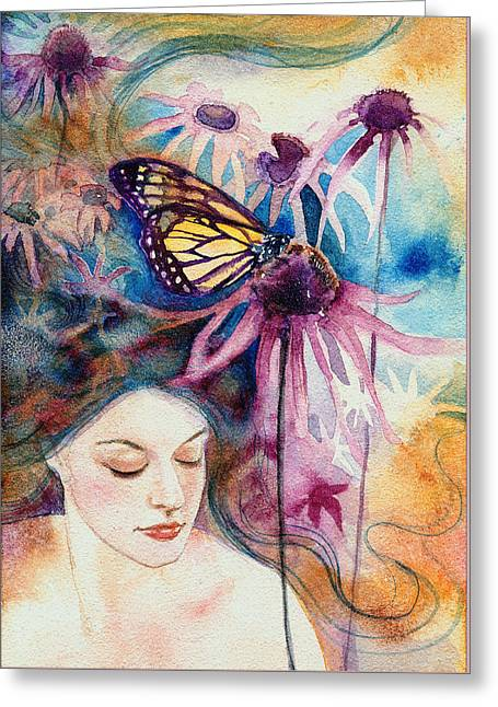 Greeting Card featuring the painting Echinacea by Ragen Mendenhall