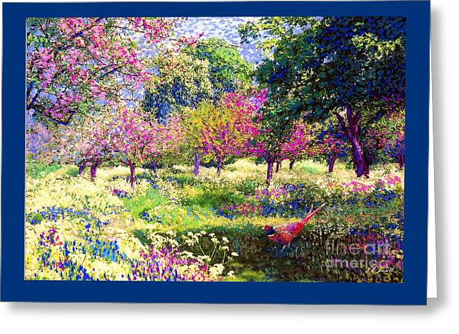 Echoes From Heaven, Spring Orchard Blossom And Pheasant Greeting Card