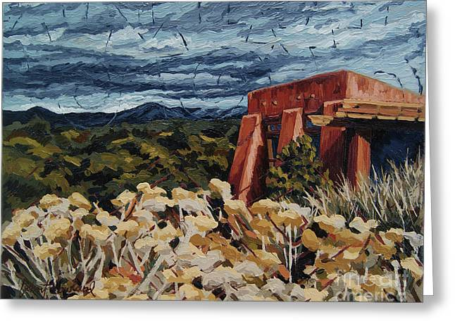 Greeting Card featuring the painting Echoes Of Tularosa, Museum Hill, Santa Fe, Nm by Erin Fickert-Rowland