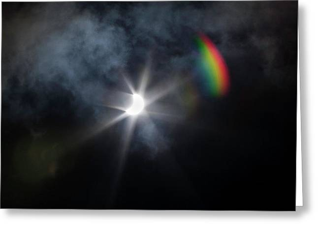 Solar Eclipse 2017 And Rainbow Greeting Card
