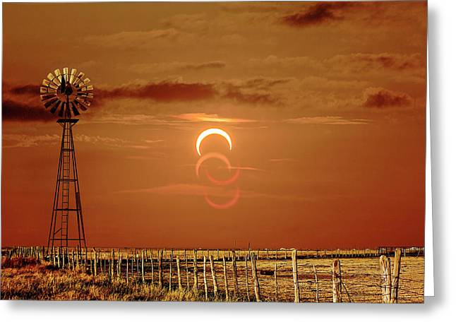 Eclipse And Lens Flares Greeting Card