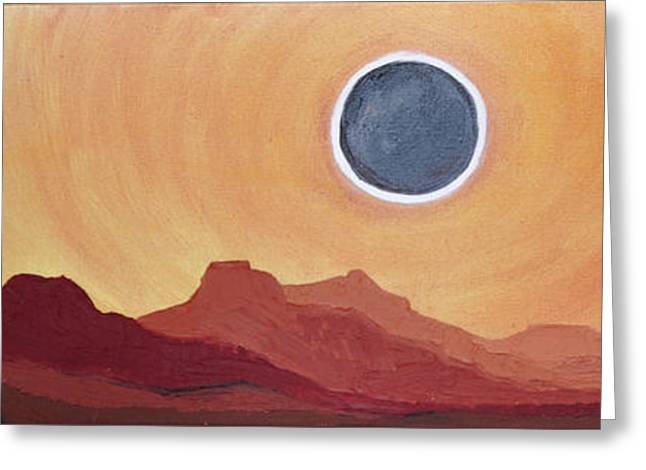 Eclipse From The Precipice Greeting Card by Cedar Lee