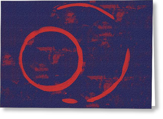 Blue Abstract Art Greeting Cards - Eclipse Greeting Card by Julie Niemela