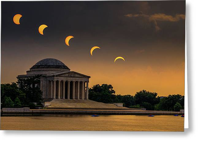 Eclipse Over Jefferson Greeting Card by Kristen Meister