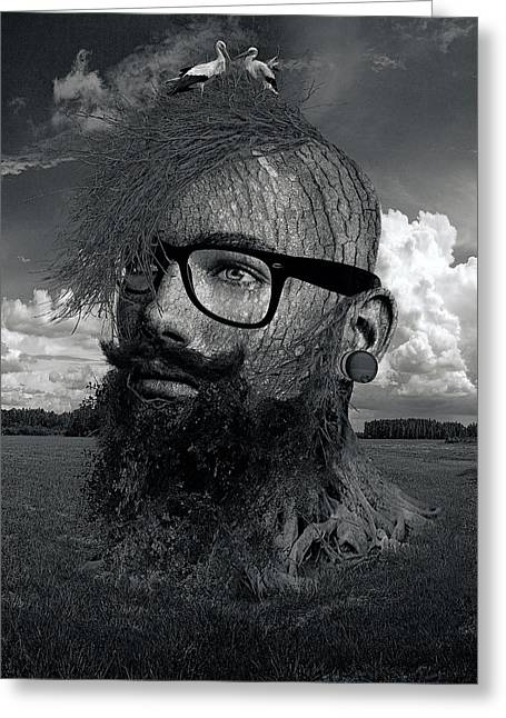 Eco Hipster Black And White Greeting Card by Marian Voicu
