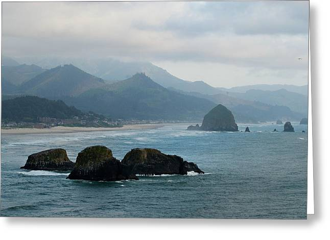 Ecola State Park View Of Haystack Rock And 3 Arch Rocks Greeting Card