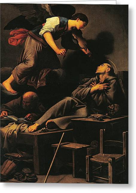 Ecstasy Of St Francis Greeting Card by Carlo Saraceni