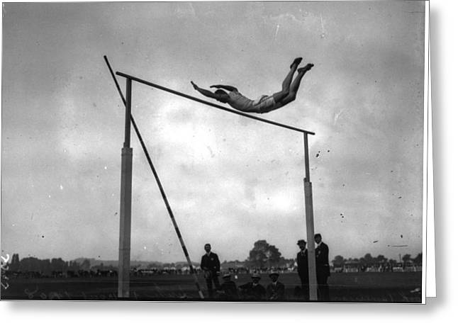 Ed Cook In The Pole Vault Greeting Card
