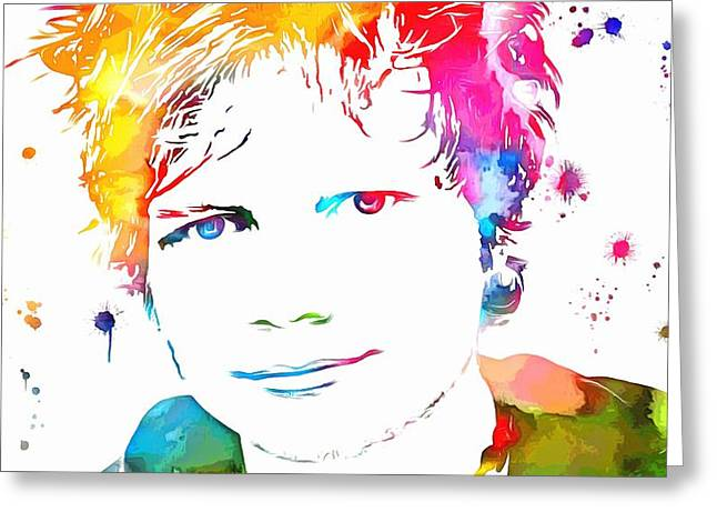Ed Sheeran Paint Splatter Greeting Card by Dan Sproul