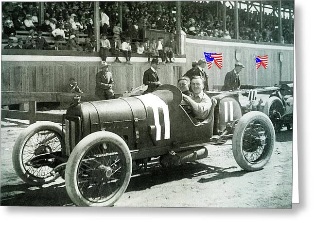 Eddie Rickenbacker Fair Grounds Track 103 Mile Auto Race   March 20 1915 Tucson Az Color Added 2012 Greeting Card by David Lee Guss