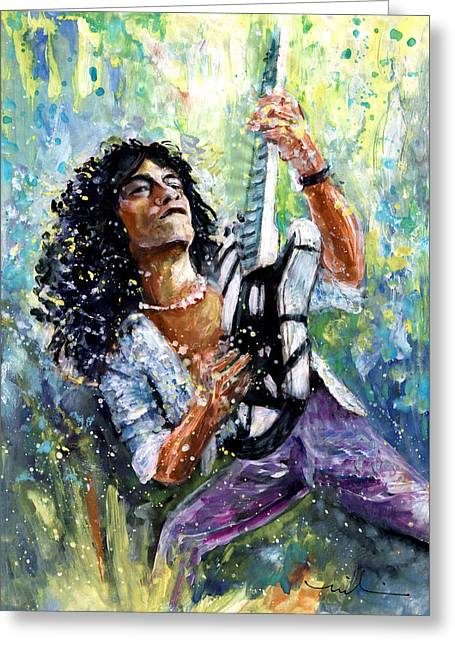 Eddie Van Halen Greeting Card by Miki De Goodaboom