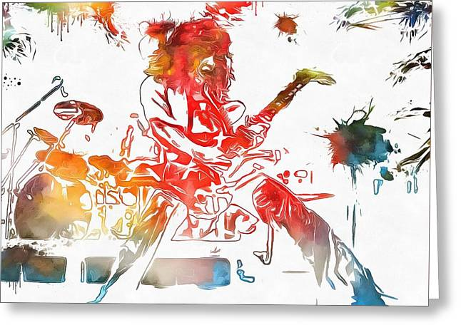 Eddie Van Halen Paint Splatter Greeting Card by Dan Sproul