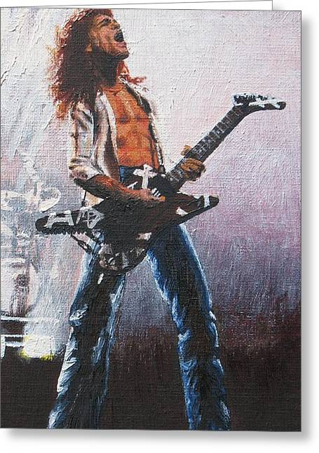 Eddie Van Halen Greeting Card by Rick Yanke