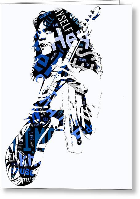 Eddie Van Halen Why Can't This Be Love Lyrics Greeting Card by Marvin Blaine