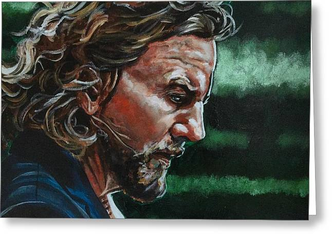 Greeting Card featuring the painting Eddie Vedder by Joel Tesch