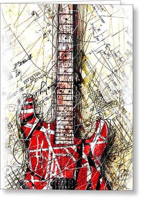 Eddie's Guitar Vert 1a Greeting Card by Gary Bodnar