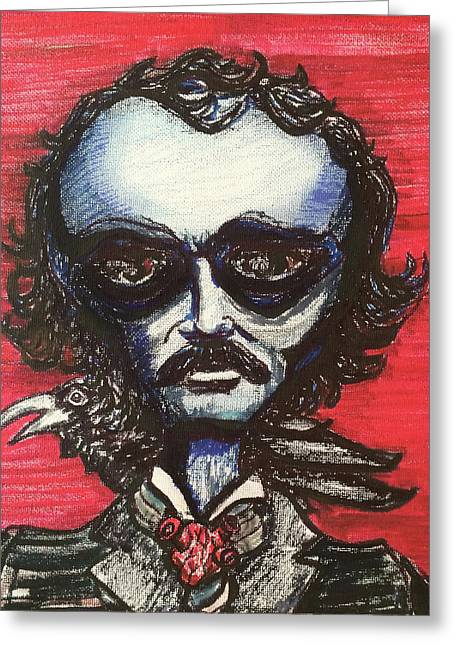 Greeting Card featuring the painting Edgar Alien Poe by Similar Alien