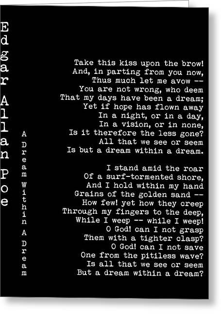 Edgar Allan Poe - A Dream Within A Dream Greeting Card