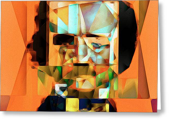 Greeting Card featuring the photograph Edgar Allan Poe In Abstract Cubism 20170325 Square by Wingsdomain Art and Photography
