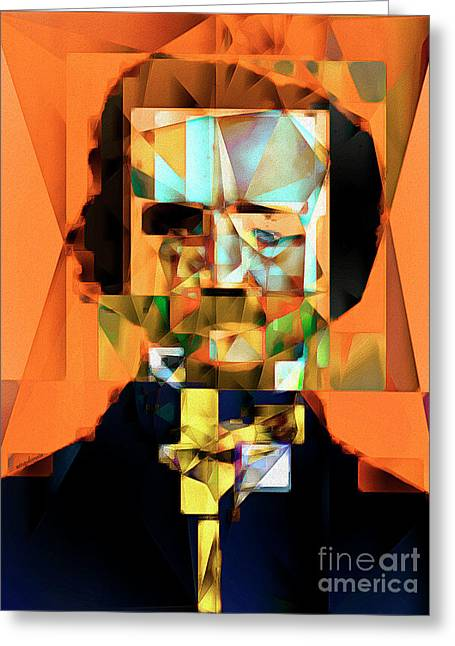 Edgar Allan Poe In Abstract Cubism 20170325 Greeting Card by Wingsdomain Art and Photography