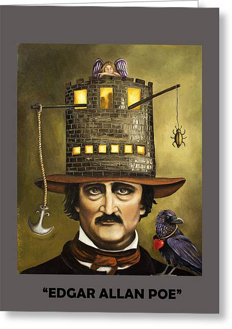 Edgar Allan Poe With Lettering Greeting Card
