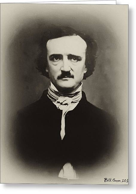 Edgar Allen Poe Greeting Card by Bill Cannon