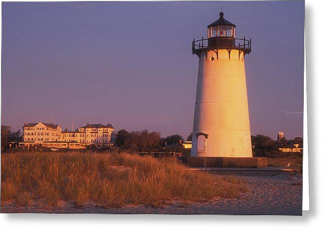 Edgartown Lighthouse And Mansion Greeting Card by John Burk