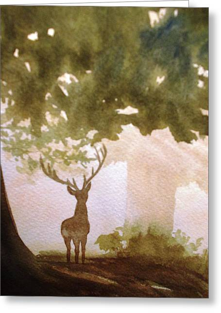 Greeting Card featuring the painting Edge Of The Forrest by Marilyn Jacobson