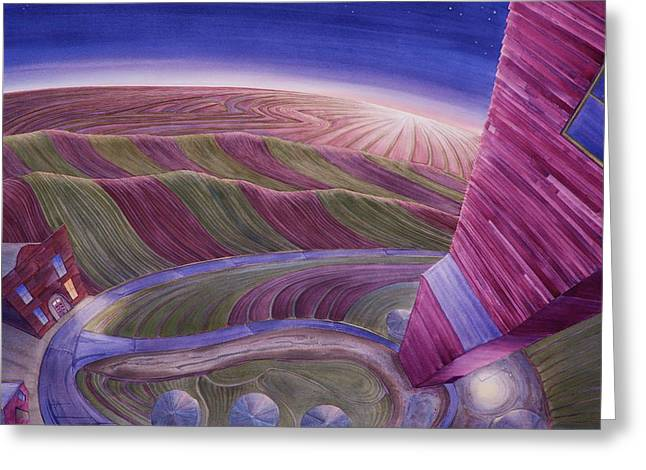Greeting Card featuring the painting Edge Of Town Iv by Scott Kirby
