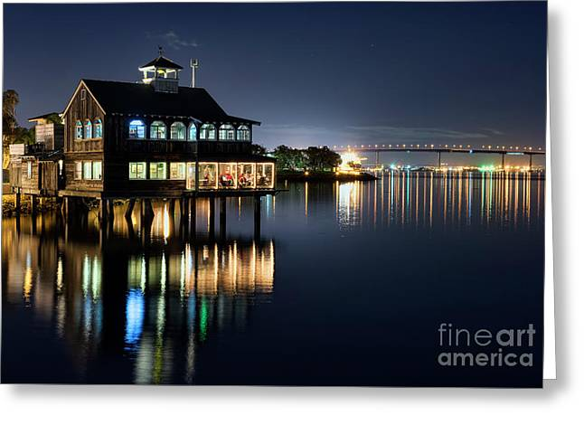 Greeting Card featuring the photograph Edgewater Grill by Eddie Yerkish