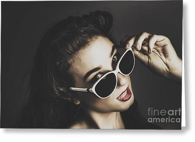Edgy Fashion Pin Up Model Greeting Card by Jorgo Photography - Wall Art Gallery