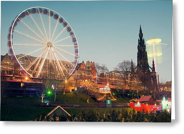 Edinburgh And The Big Wheel Greeting Card by Ray Devlin