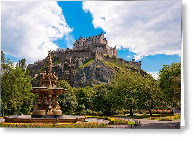 Edinburgh Castle From The Gardens Greeting Card