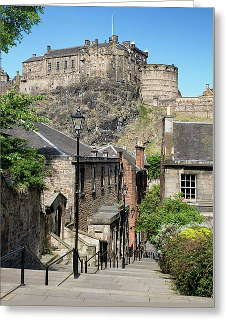Greeting Card featuring the photograph Edinburgh Castle From The Vennel by Jeremy Lavender Photography