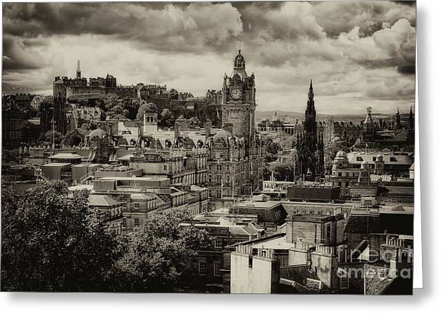 Greeting Card featuring the photograph Edinburgh In Scotland by Jeremy Lavender Photography
