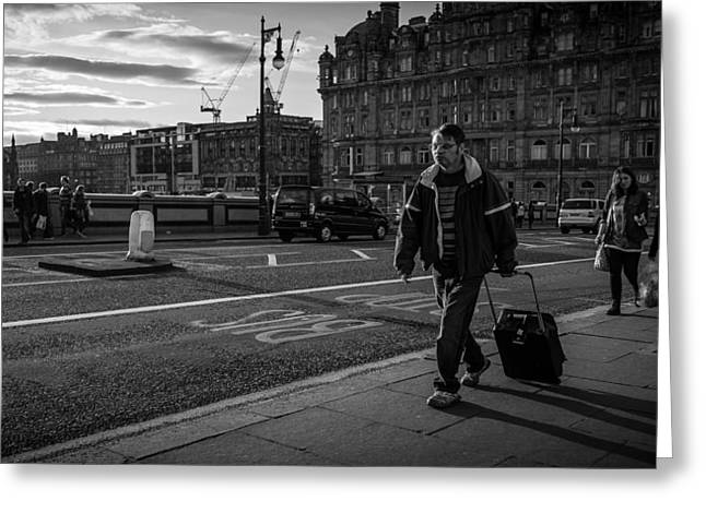 Edinburgh scotland black and white street photography greeting card by giuseppe milo