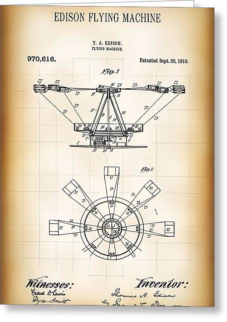Edison Flying Machine Patent  1910 Greeting Card by Daniel Hagerman