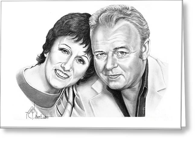Edith And Archie Bunker Greeting Card by Murphy Elliott