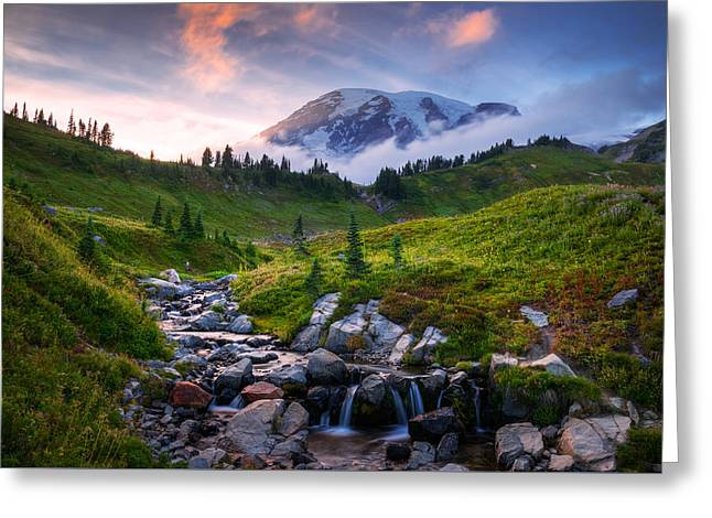 Greeting Card featuring the photograph Edith Creek Sunset by Dan Mihai