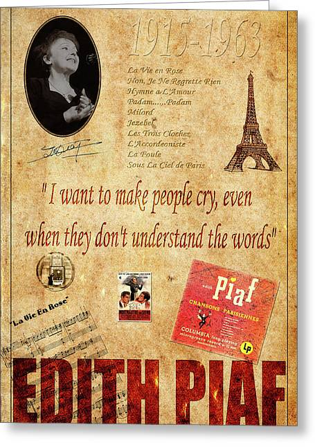 Edith Piaf Greeting Card by Andrew Fare
