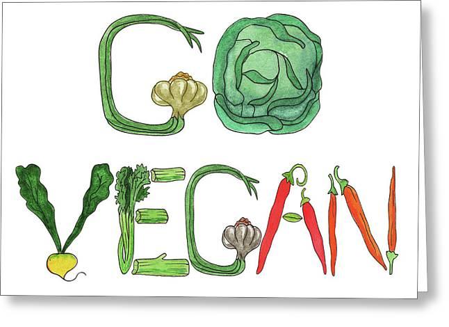 Editorial Illustration Go Vegan Greeting Card