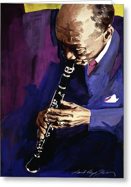 Big Band Greeting Cards - Edmond Hall Jazz Clarinet Greeting Card by David Lloyd Glover