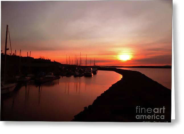 Edmonds Washington Boat Marina At Sunset Greeting Card