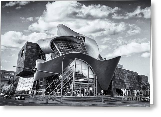 Edmonton Art Gallery Black And White Greeting Card by Ian MacDonald