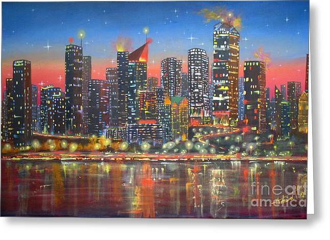 Edmonton By Night Greeting Card by Mohamed Hirji