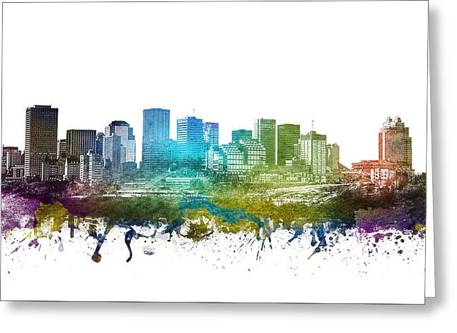 Edmonton Cityscape 01 Greeting Card by Aged Pixel