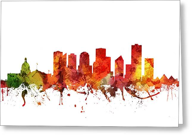 Edmonton Cityscape 04 Greeting Card by Aged Pixel