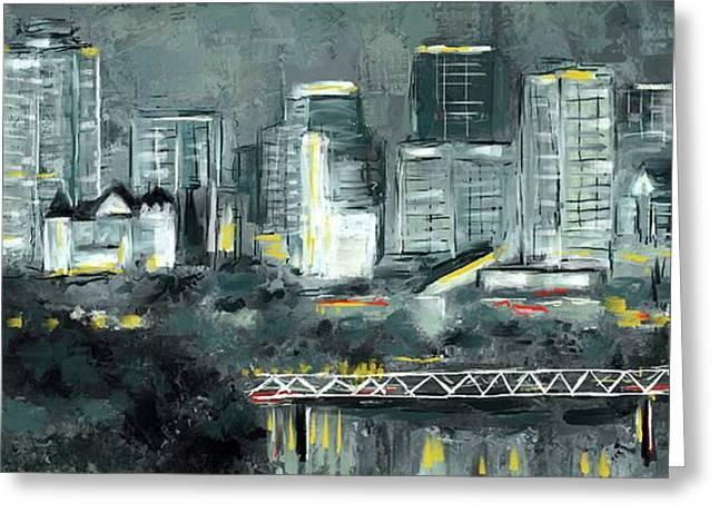 Greeting Card featuring the mixed media Edmonton Cityscape Painting by Eduardo Tavares